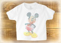 Mickey Mouse Toddlers T-Shirt, Baby Gift, Disney Printed T-shirt, Can Be Personalised With Any Text For No Extra Cost, Christmas Gift Idea