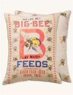 Toss a touch of plush comfort onto your home furnishings with the vintage farm-inspired flair of this decorative pillow. Includes one pillow; image shows front and backFull graphic text (front): Big bee x cleanImported Big Bee, I Love Bees, Bee On Flower, Feed Sacks, Vintage Farm, Bee Happy, Bees Knees, Bee Keeping, Vintage Pillows