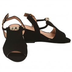 ba1389d9c3bb Girls Black Rhinestone Adorned Buckle Ankle Strap Wedge Sandals 11-4 Kids  Ankle Strap Wedges