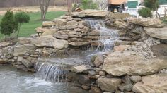 pond with waterfall - Google Search