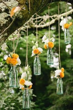 Golden Sebastopol Wedding at O'Connell Vineyards hanging flowers for outdoor wedding ceremony / reception decor. Suspend clear soda bottles from tree branches with jute / rustic twine. Boho Wedding, Rustic Wedding, Wedding Flowers, Wedding Blog, Wedding Hacks, Summer Wedding, Wedding Simple, 2017 Wedding, Party Summer