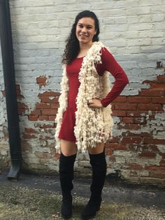 Spring night out-yes to the black knee high boots you wore this winter! A playful light vest! Perfect with skater dress.