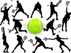 Tennis silhouette vector people
