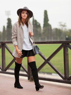 Zara black suede over knee boots + Romwe black skirt + Pull & Bear coat + light blue Zara sweater + blue bag - Lovely Pepa by Alexandra