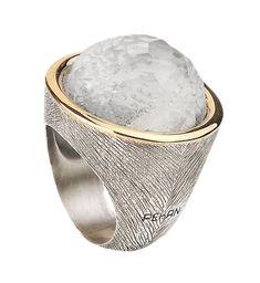 Anel, prata e ouro com pedra doublé em cristal e madrepérola, Pekan