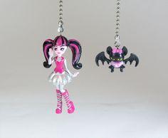 Monster High Ceiling Fan Light Pull Set / Draculaura U0026 Count Fabulous /  Kids Room Decor