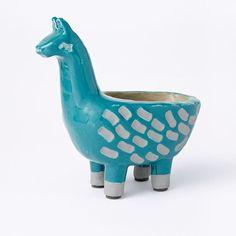 Ceramic Llama Planter, Teal