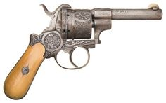 Engraved Belgian Double Action Pinfire Belt Revolver Barrel: 4 inch round Gauge: 11 mm Finish: bright Grips: ivory
