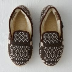 Woolen slippers from Melin Tregwynt, a historic Welsh mill on the remote coast of Pembrokeshire that has been in operation since the 17th century.