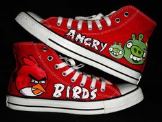 Angry Birds - Customize Shoes - Pahar Ganj, New Delhi, India - Uday Vir Cool Converse, Painted Converse, Painted Sneakers, Hand Painted Shoes, Custom Vans, Custom Shoes, New Delhi, Delhi India, Plimsolls