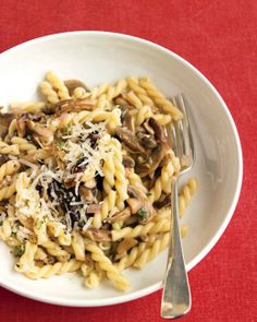 Pasta with Mixed Mushrooms and Thyme:  We used fresh buttons and shiitake as well as dried porcini. Any combo of fresh mushrooms will work, but always include the porcini for its flavorful soaking liquid.