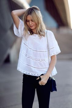 A cute white Aritzia top from Tuula Vintage - see 50 stylish black and white outfits here