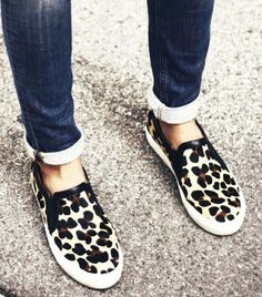 Accessory Report: The Most Comfortable Shoe Trend Of The Season  leopard sneaker. street style.