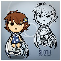 These are Sloth and her best friend Mr. Snores, from Sweet Sins! And yep, they also hate mondays. #kawaii #chibi #cute #mobile #game #gamedev #plush #character #art #design #girl