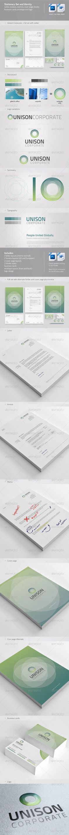 Buy Unison: Corporate Stationery, Invoice and Identity by chrisatlemon on GraphicRiver. File description: Stationery and corporate identity set featuring logo design, invoices, letter, memo and cover page . Corporate Stationary, Corporate Brochure, Corporate Identity, Identity Design, Logo Design, Invoice Layout, Invoice Format, Enterprise Logo, Cover Page Template
