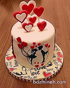 Valentine cake love cake and more cake, birthday cake, valentine. Happy Anniversary Cakes, Wedding Anniversary Cakes, Anniversary Cake Designs, Wedding Cakes, Anniversary Gifts, Fondant Cakes, Cupcake Cakes, Fondant Cupcake Toppers, Decors Pate A Sucre