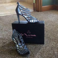 Selling this Nina size 8.5 medium grey glitter high heels in my Poshmark closet! My username is: islandgirl61. #shopmycloset #poshmark #fashion #shopping #style #forsale #Nina #Shoes