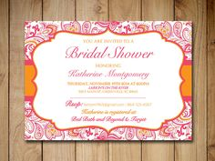 """Bridal Shower Invitation Template Wedding Shower - Lipstick Pink Orange """"Chic Paisley"""" - Bollywood Wedding Invitation Instant Download by PaintTheDayDesigns on Etsy"""
