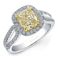 Natalie K Design no. NK18542FY-WY This diamond ring's 18k yellow gold is fit to hold a fancy yellow diamond surrounded by brilliant round white diamonds pave set into the 18k white gold split shank. #wedding