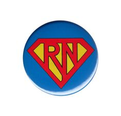 Super RN Registered Nurse Button Badge Pin by AlienAndEarthling