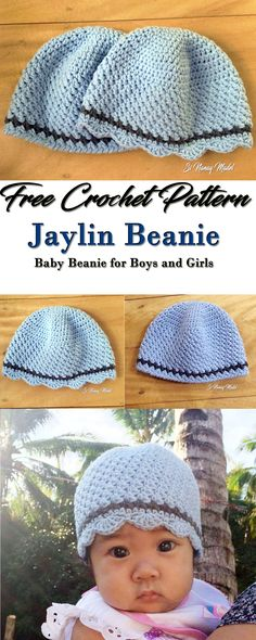 FREE PATTERN: Crochet Baby Beanie for your little Ones. For boys and Girls also. Sizes from Newborn to One Year Old.