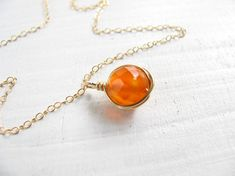 Gold necklace Carnelian necklace wire wrapped necklace by Motekk