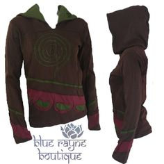 NEPAL FAIR TRADE Spiral Design Upcycled Patch BoHo Yoga Hippie Hoodie L / XL #Handmade #Hoodie