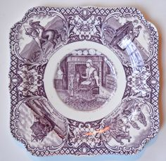 Crown Ducal Colonial Times Purple Transferware Square Plate Betsy Ross American Flag Thanksgiving