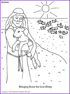 Jesus and the Lost Sheep Coloring Page Kids Korner BibleWise Church Activities, Bible Activities, Sunday School Lessons, Sunday School Crafts, Bible Coloring Pages, Coloring Books, Coloring Sheets, Coloring Pages For Kids, Festa Moana Baby