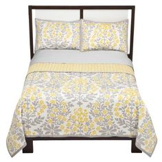 I love the yellow and gray combo in this bedspread, and it's affordable at Target.com....but alas, it is listed as sold out!