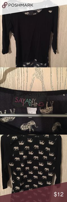 Say anything shirt Super cute! Elephant print on the back say anything Tops Blouses