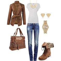 This outfit includes some very stylish ideas for the fall/fashion season. It keeps the trend of the darker colors (browns) and also it has combat boots that is also very trendy for the fall/winter seasons.