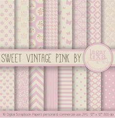 Sfondo Carta Digitale Rosa e beige vintage vecchio campioni per inviti sfondo blog scrapbooking