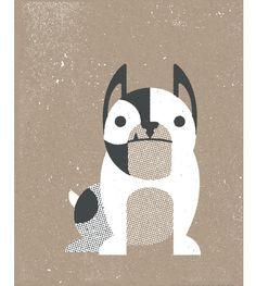 French #Bulldog Inspired #Art #Print. $15  #screenprint #dogs #walls #kids #decor
