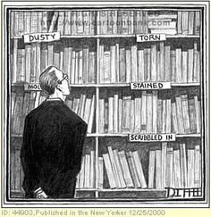 Used Books - New Yorker Cartoon Poster Print by Matthew Diffee at the Condé Nast Collection Librarian Humor, Teacher Librarian, I Love Books, Used Books, Books To Read, New Yorker Cartoons, Literary Quotes, Funny Cartoons, Bibliophile