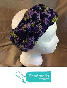 Braided Crochet headband - ear warmer - fits most teens & adults - purples & green - smoke free - pet free - free shipping to USA - measures approximately 4 inches wide. from PMSCRAFTS https://www.amazon.com/dp/B01KVUDWGC/ref=hnd_sw_r_pi_dp_vQdayb8AM5ES9 #handmadeatamazon