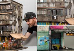 """Inspirado pelo estilo """"enferrujado e decadente"""" de algumas cidades, Joshua cria maquetes em escala 1:20 cujas imagens poderiam facilmente passar por fotografias de prédios reais. Graffittis, sacos de lixo, luzes e placas são alguns dos detalhes que fazem a diferença."""
