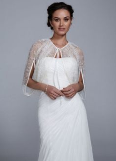 Lace Cape with Self Tie Front - Wedding Accessories by David's Bridal - Loverly