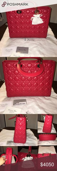 """CD Large Lady Dior Handle Cann. lamb 100%auth. Comes with Dust Bag no longer Have Box Still In Great Condition Still Has Authenticity card and tag . Only Used 5 times One of my beauty's ❤️ Only Selling For right price or trading For Equal Of Value Has : Strap for crossbody Has Jew.Charm Dust Bag last pic with bottom 3 pics show just the minor flaws still in mint cond. Beautiful Large """"Lady Dior"""" bag in Red lambskin """"Cannage"""" topstitching Light gold-tone jewellery Carry in the hand or on the…"""