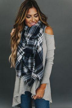 Plaid Blanket Scarf- Navy/Charcoal - Dottie Couture Boutique