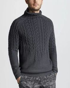 Collo alto MADE TO ORDER maglione aran men mano a di BANDofTAILORS
