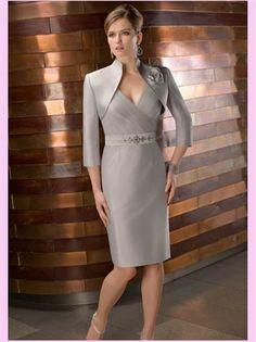 Short V-Neck Satin Mother Of The Bridal Dress. Would like mom in something similar x