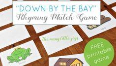 Teaching kids to rhyme: rhyming match game (free printable)