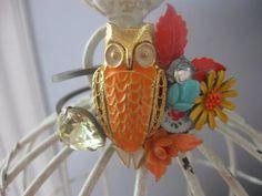 The Autumn Bird vintage assemblage bracelet on Etsy