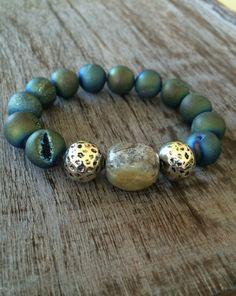 Blue Druzy Agate Gemstone Bracelet by mSsDdesigns on Etsy