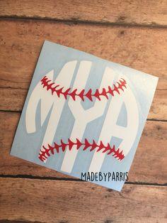 Baseball Monogram Vinyl Decal, Softball Monogram Decal, Monogram Decal, Baseball Decal, Softball Decal, Car Decal, Yeti Decal, Glitter Decal by MadeByParris on Etsy