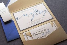Modern Calligraphy Script Wedding Invitation shown in Sapphire Blue, Gold, Grey and Cream, Pocketfold 1 Layer, v3 - SAMPLE