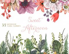 Sweet Afternoon 35 Watercolor Elements, hand painted clipart, floral wedding invite, greeting card, diy clip art, flowers
