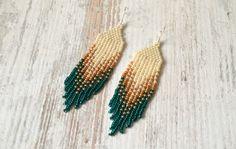 Fringe earringsBeaded earrings seed bead earrings modern
