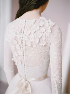 Long sleeved lace wedding giwn Amy by Milamira Bridal // corset bodice with embroidered 3D flowers, long blush tulle skirt with train